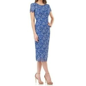 JS Collections Floral Cocktail Midi Dress Scallop